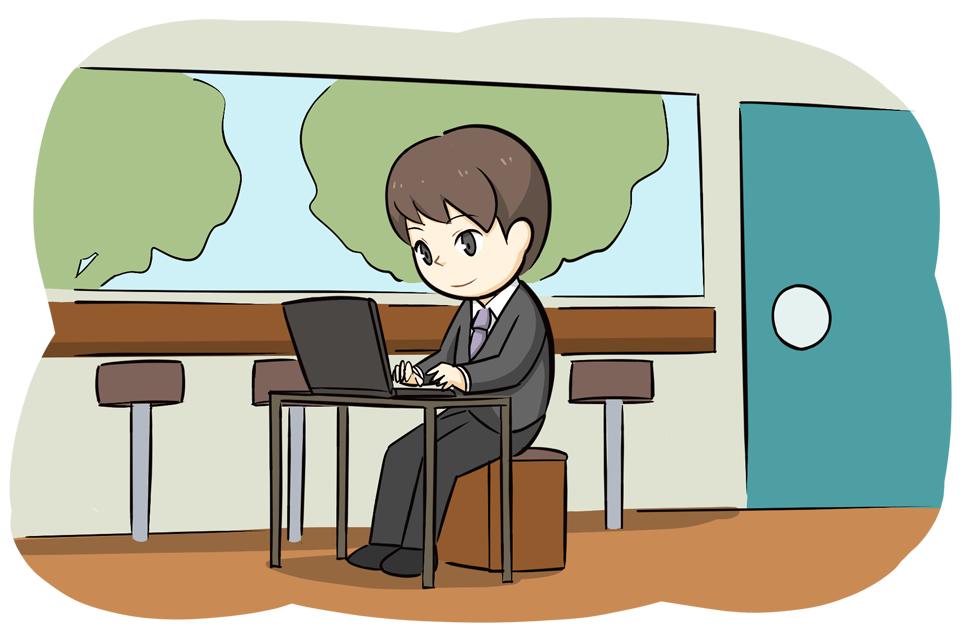 仕事の合間に転職先を探す男性