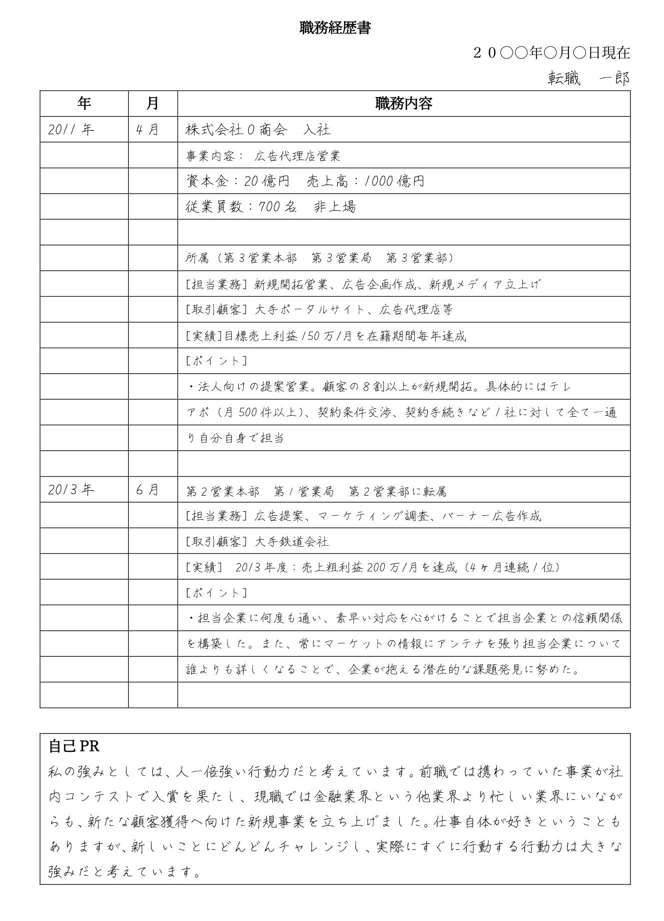 手書きの職務経歴書の見本