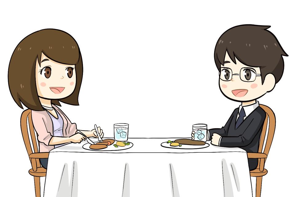 夫と朝食をとる30代女性