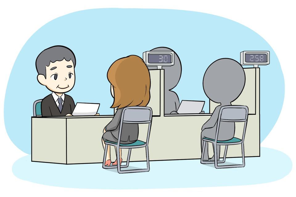 ハローワークで相談する求職者