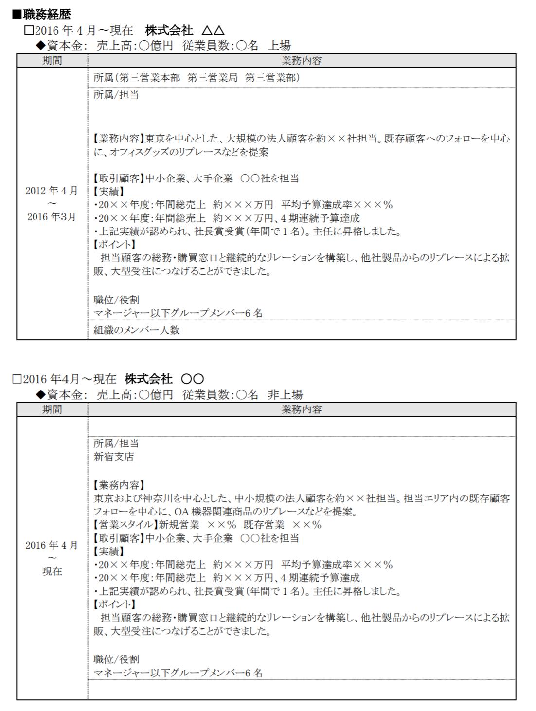 一般的な形式(編年体式)で作成された職務経歴書